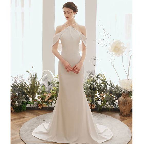 Elegant Ivory Evening Dresses  2020 Trumpet / Mermaid Pearl Halter Short Sleeve Sweep Train Ruffle Backless Formal Dresses