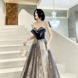 Chic / Beautiful See-through Navy Blue Evening Dresses  2020 A-Line / Princess Scoop Neck Sleeveless Appliques Sequins Floor-Length / Long Ruffle Backless Formal Dresses