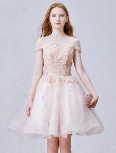 Elegant Rosa Festklänning Organza Cocktailklänning Med Blommor