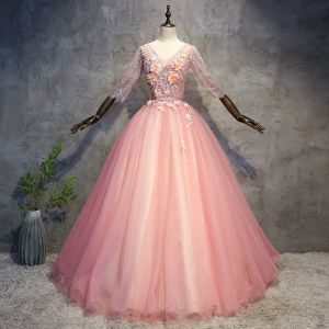 Chic / Beautiful Pearl Pink Prom Dresses 2018 Ball Gown Appliques Pearl Sash V-Neck Backless 3/4 Sleeve Floor-Length / Long Formal Dresses