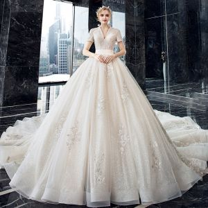 Luxury / Gorgeous Champagne Wedding Dresses 2020 Ball Gown V-Neck Short Sleeve Backless Glitter Tulle Appliques Lace Beading Cathedral Train Ruffle
