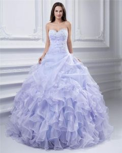 Ball Gown Yarn Beaded Ruffle Sweetheart Ankle Length Quinceanera Prom Dresses