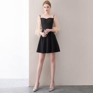 Modern / Fashion Black Short Graduation Dresses 2018 A-Line / Princess Spaghetti Straps Backless Charmeuse Homecoming Formal Dresses