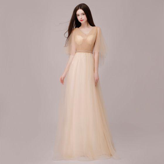 Piękne Szampan Sukienki Wieczorowe 2018 Princessa Metal Szarfa V-Szyja Bez Pleców 1/2 Rękawy Długie Sukienki Wizytowe