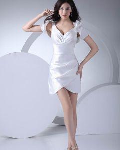 Mode Wie Seidensatin Gefalteten V-ausschnitt Oberschenkel Länge Abiballkleider / Abschlussballkleider