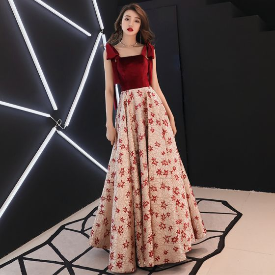 Modern / Fashion Burgundy Evening Dresses  2019 A-Line / Princess Shoulders Sleeveless Embroidered Flower Floor-Length / Long Ruffle Backless Formal Dresses
