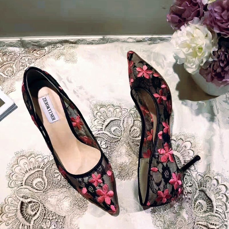 Chic / Beautiful Black Prom Pumps 2018 Lace Flower Pointed Toe Pumps