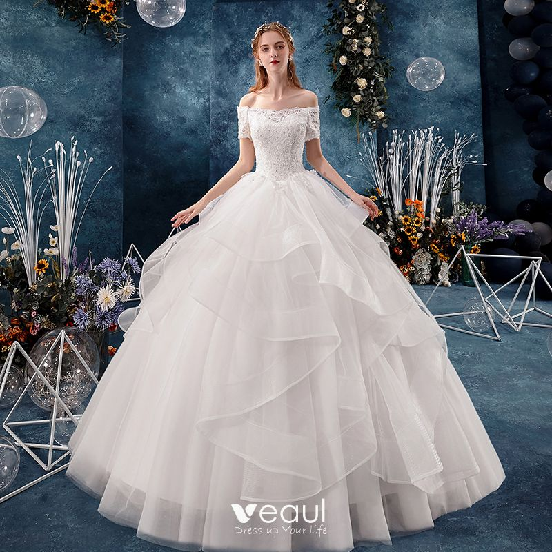 Modern Fashion White Wedding Dresses 2019 Ball Gown Off The Shoulder Beading Sequins Lace Flower Short,Backless Wedding Dress Bras