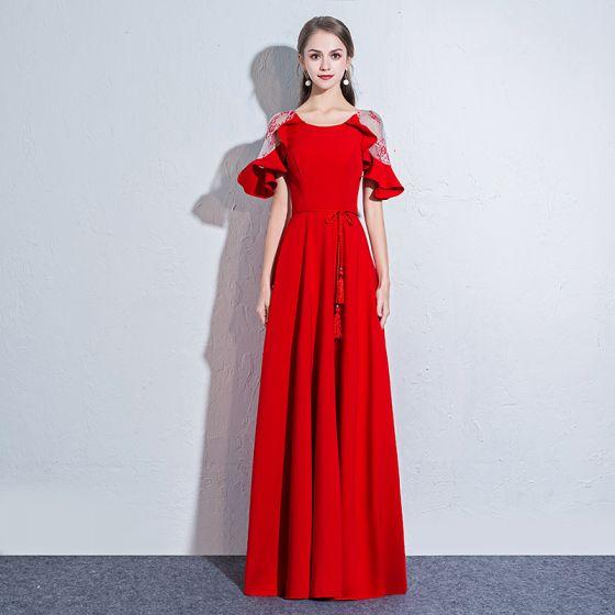 Piękne Czerwone Sukienki Wieczorowe 2018 Princessa Szarfa Wycięciem Przezroczyste 1 2 Rękawy Długie Sukienki Wizytowe