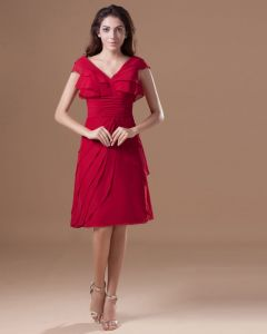 Chiffon Ruffle V Neck Knee Length Mother Of The Bride Dress