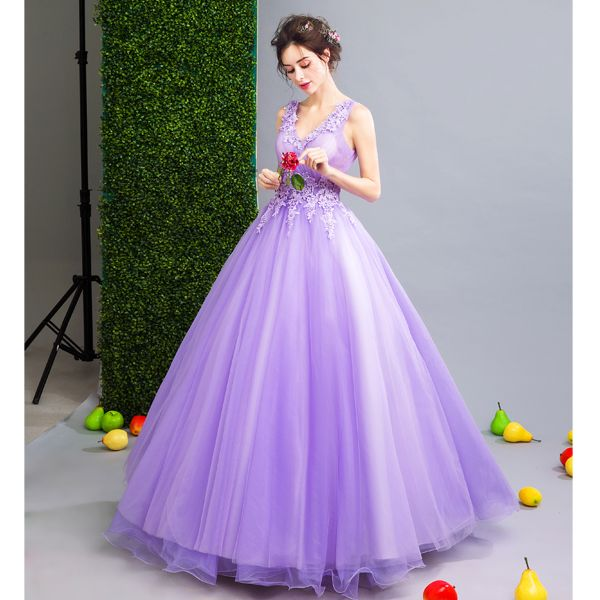 Affordable Lilac Prom Dresses 2019 A-Line / Princess V-Neck Appliques Lace Flower Beading Crystal Sleeveless Backless Floor-Length / Long Formal Dresses