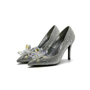 Classy Baroque Cinderella Pumps 2019 Crystal Sequins 10 cm Stiletto Heels Pointed Toe Pumps