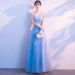 Chic / Beautiful Sky Blue Evening Dresses  2018 A-Line / Princess Appliques Shoulders Backless Sleeveless Floor-Length / Long Formal Dresses