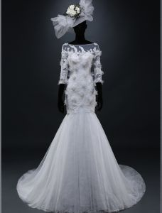 2015 Mermaid Square Neckline Beadding Appliques Lace Flowers Organza Wedding Dress