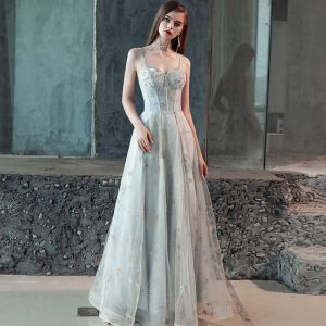 Elegant Grey Evening Dresses  2018 A-Line / Princess Cartoon Spaghetti Straps Backless Sleeveless Floor-Length / Long Formal Dresses