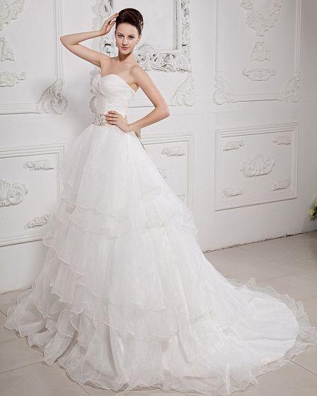 Taft Organza Veck Beading Alskling Domstol Tag A-linje Brudklänningar Bröllopsklänningar