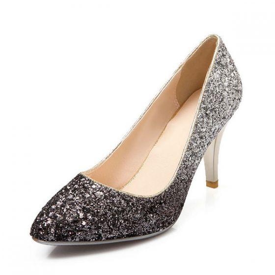 À Femmess Argent Brillant Chaussures Haut Escarpins Talon Glitter E9DH2WIY