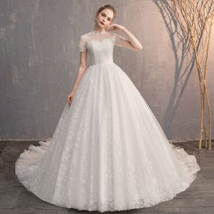 Elegant Ivory Wedding Dresses 2019 Ball Gown Scoop Neck Beading Crystal Lace Flower Short Sleeve Backless Cathedral Train