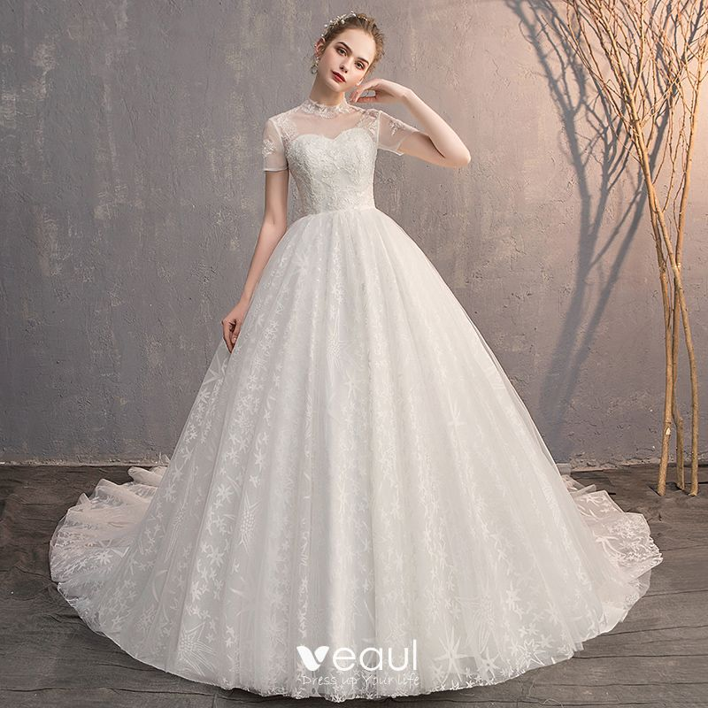 Elegant Ivory Wedding Dresses 2019 Ball Gown Scoop Neck Beading