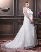 Taft Handblume Rüschen Ein Schultergurt Große Größen Brautkleider