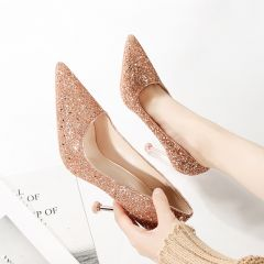 Sparkly Rose Gold Evening Party Pumps 2020 Sequins 9 cm Stiletto Heels Pointed Toe Pumps