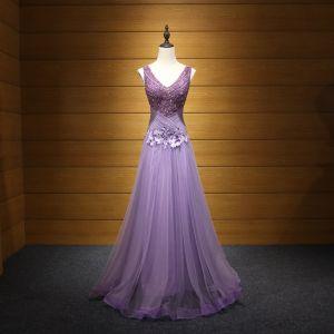 Chic / Belle Lavande Robe De Soirée 2017 Princesse V-Cou Tulle Appliques Dos Nu Perlage Paillettes Soirée Robe De Ceremonie