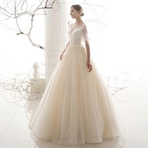 Victorian Style Affordable Outdoor / Garden Champagne See-through Wedding Dresses 2019 A-Line / Princess Scoop Neck Puffy Short Sleeve Backless Spotted Tulle Floor-Length / Long Ruffle