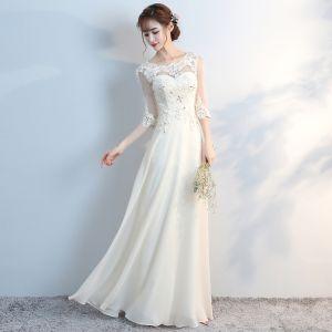 Mooie / Prachtige 2017 Bruidsmeisjes Jurken A lijn U-hals 3/4 Mouwen Ruglooze Witte Jurken Voor Bruiloft