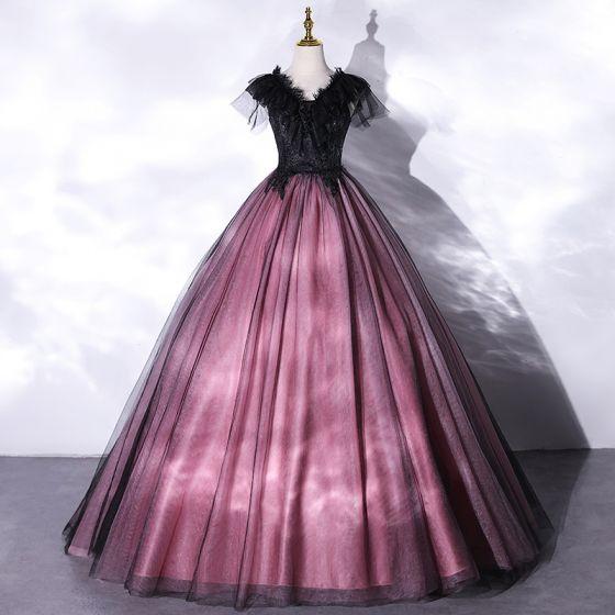 Eleganta Purple Spets Blomma Balklänningar 2021 Prinsessa V-Hals Beading Korta ärm Långa Formella Klänningar