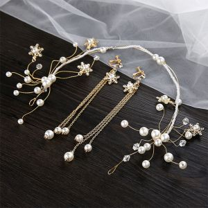 Chic / Beautiful Gold Bridal Jewelry 2020 Metal Pearl Crystal Headpieces Tassel Earrings Wedding Accessories