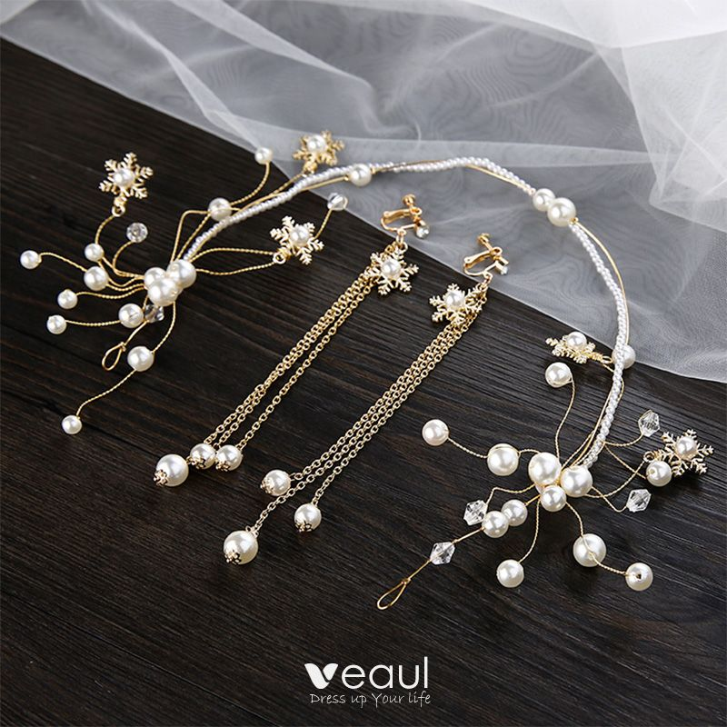 Chic Beautiful Gold Bridal Jewelry 2020 Metal Pearl Crystal