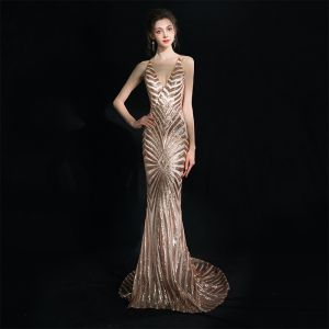 Modern / Fashion Champagne Court Train Evening Dresses  2018 V-Neck Trumpet / Mermaid Zipper Up Backless Beading Sequins Polyester Evening Party Formal Dresses