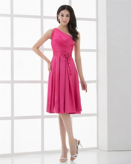 Taft Blume One Shoulder Bodenlangen Cocktail Partykleid