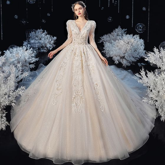 Victorian Style Champagne Bridal Wedding Dresses 2020 Ball Gown V-Neck Puffy 3/4 Sleeve Backless Appliques Lace Beading Glitter Tulle Cathedral Train Ruffle