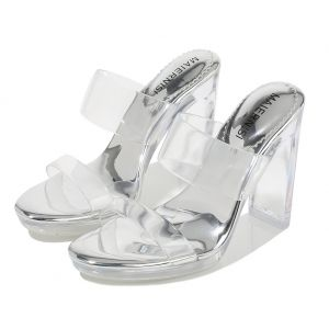 Transparent Sexy Silver Street Wear Womens Sandals 2020 11 cm Thick Heels Open / Peep Toe Sandals