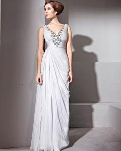 Floor Length V-Neck Sleeveless Tencel Evening Dresses