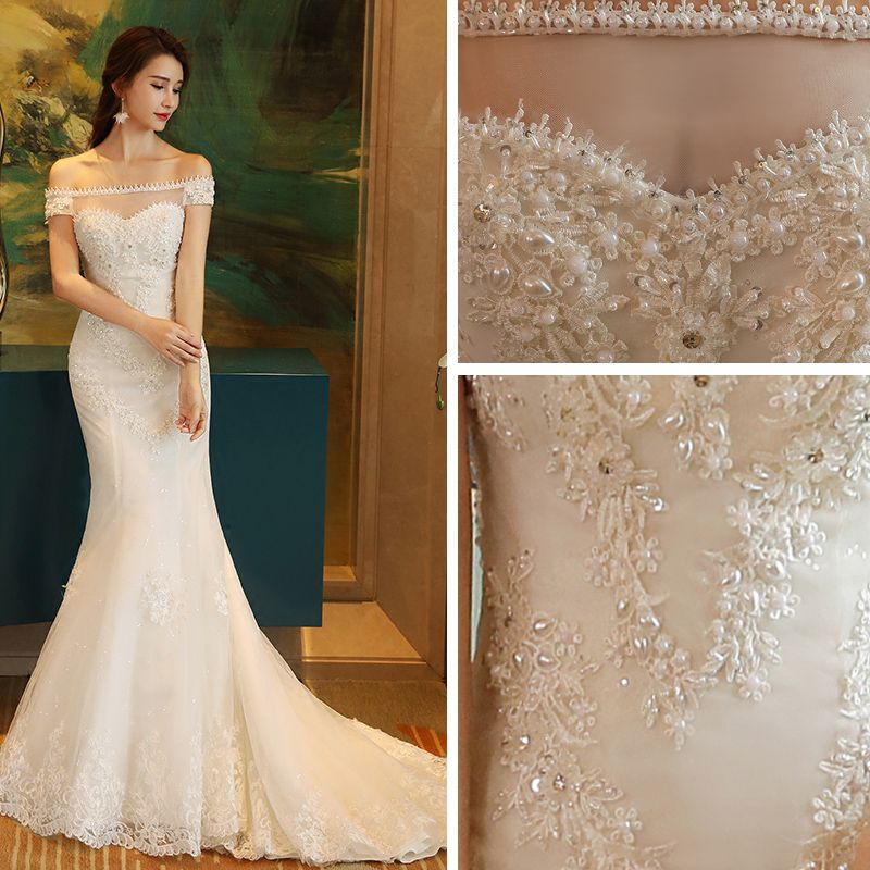 Affordable Church Hall Wedding Dresses 2017 White Trumpet / Mermaid Chapel Train Off-The-Shoulder Short Sleeve Backless Pearl Lace Appliques Beading Sequins