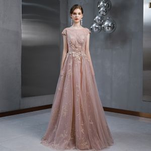 Illusion Pearl Pink See-through Evening Dresses  2020 A-Line / Princess Short Sleeve Square Neckline Glitter Tulle Appliques Lace Pearl Beading Floor-Length / Long Ruffle Backless Formal Dresses