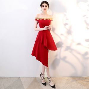 Sexy Burgundy Party Dresses 2018 A-Line / Princess Sequins Off-The-Shoulder Backless Short Formal Dresses