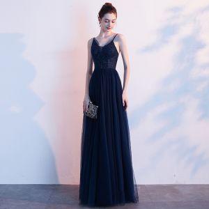 Elegante Marineblau Abendkleider 2020 A Linie Spaghettiträger Strass Ärmellos Rückenfreies Lange Festliche Kleider