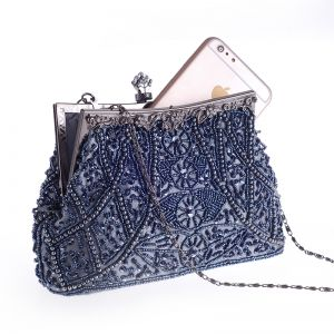 Modern / Fashion Navy Blue Beading Pearl Metal Clutch Bags 2018