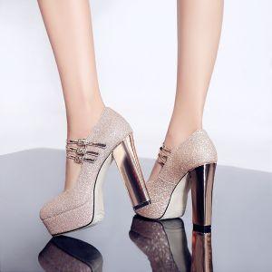 Bling Bling Doré Chaussures Femmes 2018 Soirée Paillettes Boucle 12 cm Talons Épais Plateforme À Bout Rond Escarpins