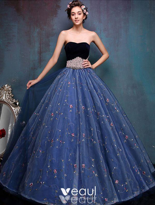Elegante Ballkleider 9 Schatz Wulstige Perlenflügel Bestickten Blauen  Organza Abschlusskleider