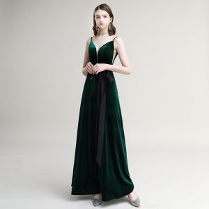 Elegant Dark Green Suede Evening Dresses  2020 A-Line / Princess Spaghetti Straps Bow Sleeveless Backless Floor-Length / Long Formal Dresses