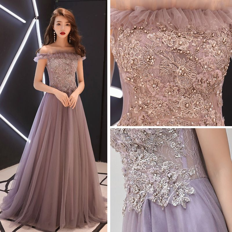 Chic / Beautiful Lavender Evening Dresses  2019 A-Line / Princess Off-The-Shoulder Short Sleeve Appliques Lace Beading Pearl Sweep Train Ruffle Backless Formal Dresses