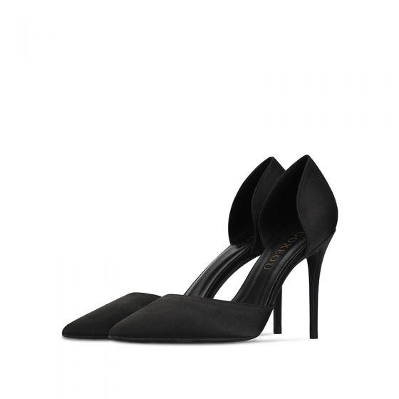 Élégant Noire 10 cm Promo Couleur Unie 2020 Talons Hauts Satin Été À Bout Pointu Talons Aiguilles Sandales Femme Chaussures Femmes