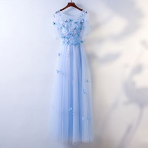 Chic / Beautiful Sky Blue Evening Dresses  2017 A-Line / Princess Butterfly Lace Flower Scoop Neck Backless Short Sleeve Ankle Length Evening Party