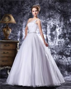 Elegant Beading Floor Length One Shoulder Satin A Line Wedding Dress
