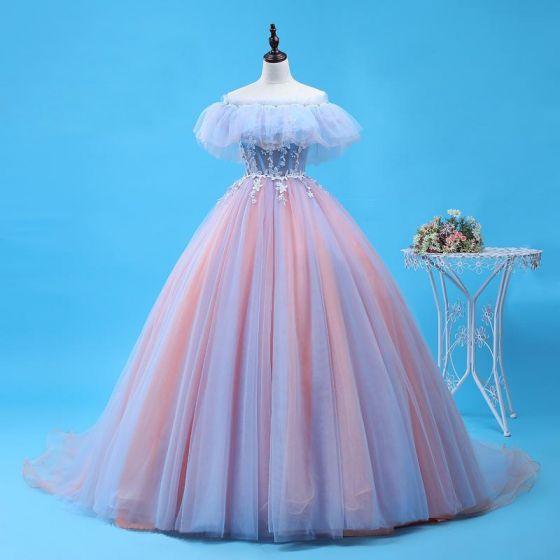 Piękne Błękitne Rumieniąc Różowy Quinceañera Sukienki Na Bal 2018 Suknia Balowa Aplikacje Frezowanie Przy Ramieniu Bez Pleców Bez Rękawów Trenem Sweep Sukienki Wizytowe