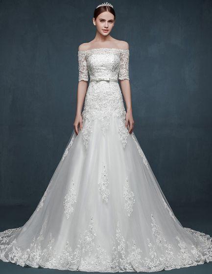 Romantisk Bakre Ord Skuldra Slim Tunn Brudklänning Bröllopsklänningar